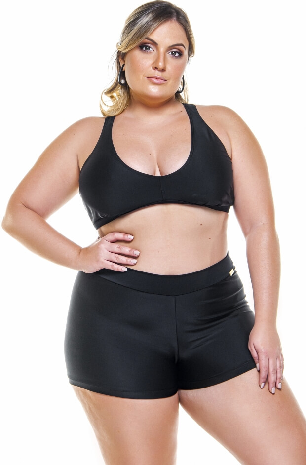top plus size costa nadador na cor preto
