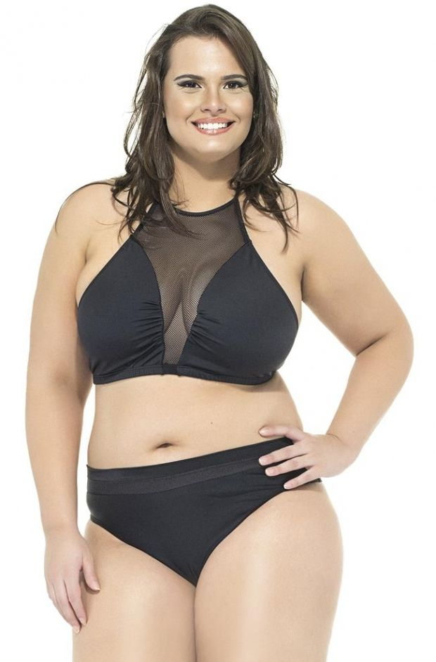 Plus Size Top com telinha preto