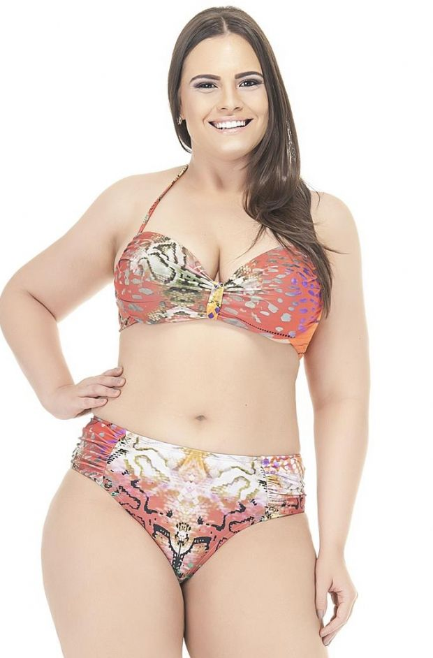 Plus Size Calcinha franzida nas laterais Sunset