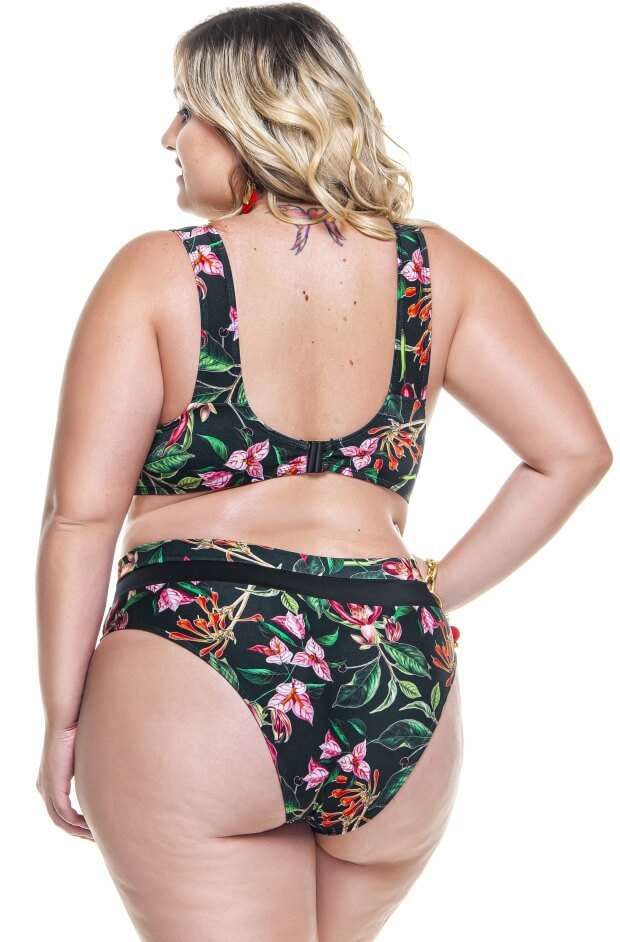 mini blusa plus size na estampa cerejeira negra
