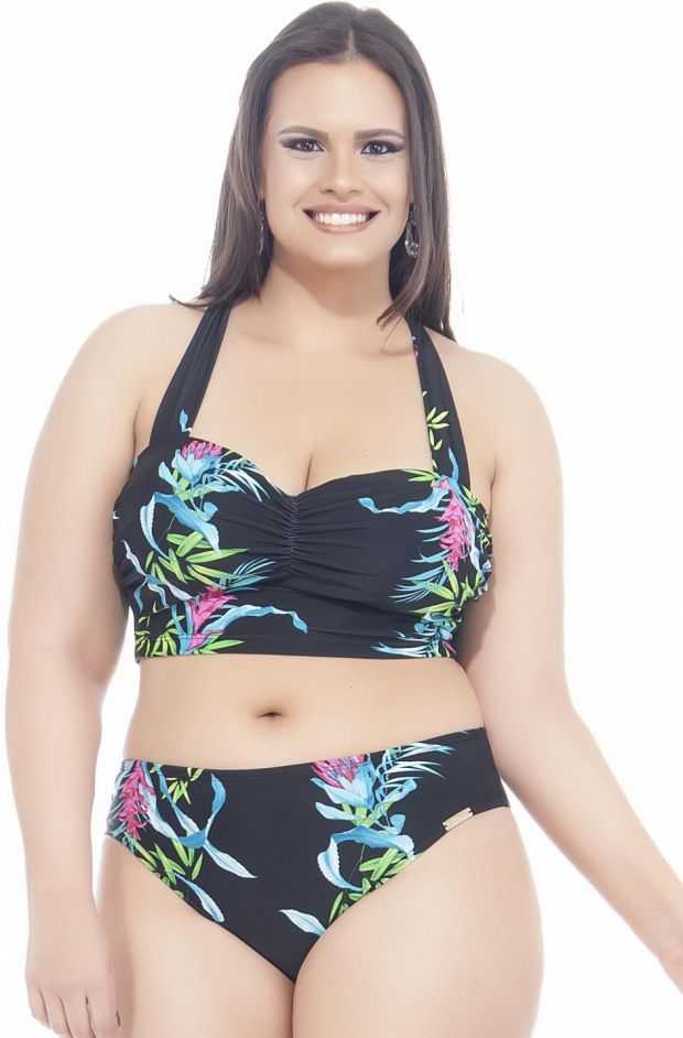 Plus Size Top com bojo e base larga bromélias