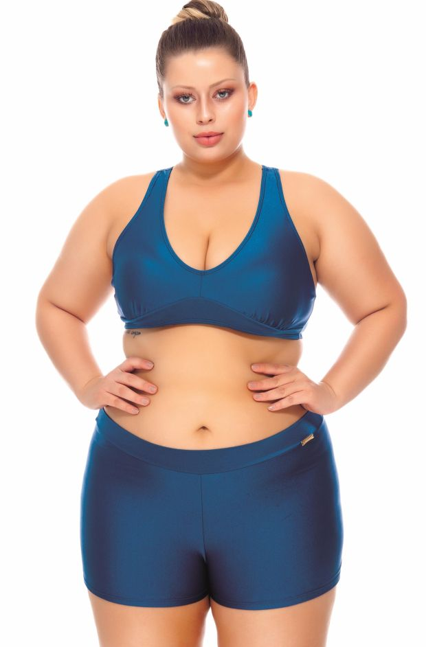 Plus Size Top costa nadador Galáxia.
