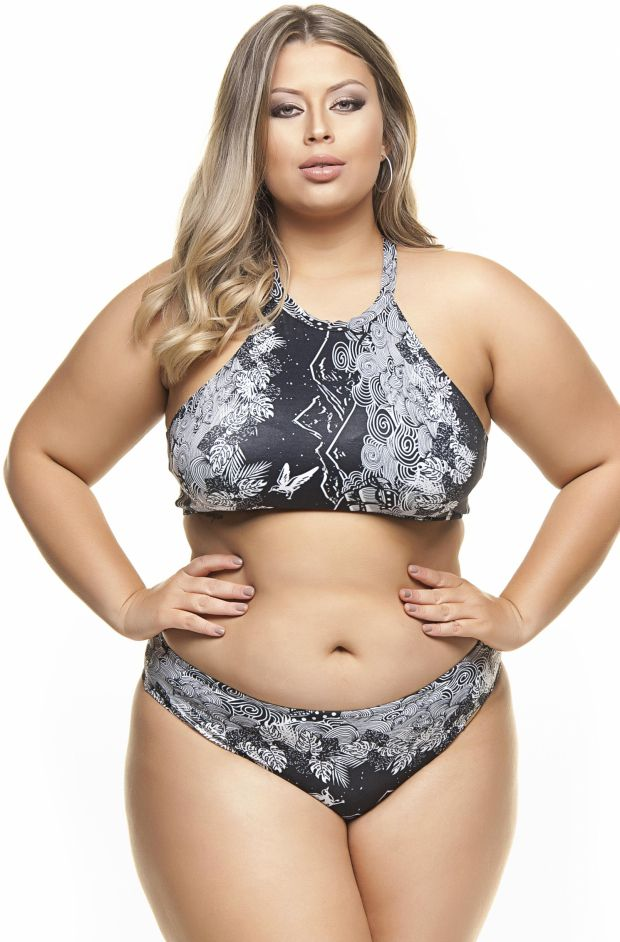 Plus Size Cropped com Bojo Barrado